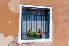 Beautiful vintage italian balcony with pot flowers Royalty Free Stock Photos