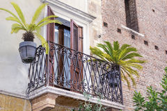 Beautiful  vintage italian building  with balcony with palms Stock Photography