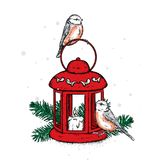 Beautiful vintage lantern with a candle and birds. Lovely bullfinches. Vector illustration. Festive postcard. Stock Photos