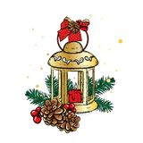 Beautiful vintage lantern with a candle. Vector illustration. Festive postcard. New Year`s and Christmas. A bow and a bump. Royalty Free Stock Photography