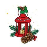 Beautiful vintage lantern with a candle. Vector illustration. Festive postcard. New Year`s and Christmas. A bow and a bump. Stock Photos