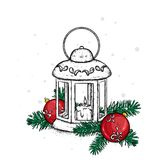 Beautiful vintage lantern with a candle. Vector illustration. Festive postcard. New Year`s and Christmas. A bow and a bump. Stock Photo
