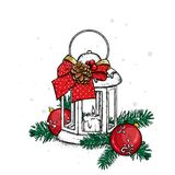 Beautiful vintage lantern with a candle. Vector illustration. Festive postcard. New Year`s and Christmas. A bow and a bump. Stock Photography