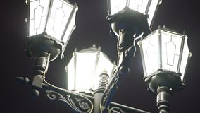 Beautiful, vintage, lighted street lamps, isolated on night sky background. Close up for black old fashioned lanterns at. Night royalty free stock photography