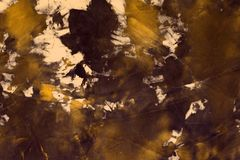 Abstract aged orange randomly painted canvas, fabric with color paint spots and blots texture for background use. Beautiful vintage orange randomly painted royalty free stock photography