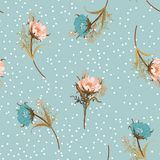 Beautiful vintage pastel Blowing garden flowers seamless pattern vector illustration