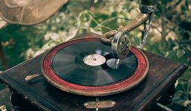 Beautiful vintage phonograph to listen vinyl. Toned Royalty Free Stock Photo