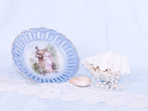 Beautiful vintage plate, shell Stock Photo