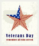 Beautiful vintage poster for Veterans Day. With the American star folded from the American flag and the inscription stock illustration