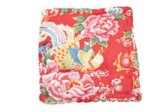 Beautiful vintage red pillow with bird Stock Image
