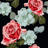 Beautiful vintage red roses pattern. Trendy summer watercolor style design. Watercolor succulents and red roses seamless pattern. Vintage wallpaper with rose Stock Photos