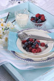 Beautiful vintage retro style aqua dessert tray setting - vertical Stock Image