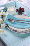 Beautiful vintage retro style aqua dessert tray - vertical Stock Photography