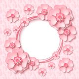 Vector vintage round frame with 3d light pink paper cut out flowers. Beautiful vintage round frame with 3d light pink paper cut out flowers. Vector illustration Stock Photo