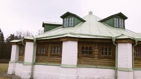Beautiful vintage Russian monastery. Russian beautiful old stone house with a green roof stock video