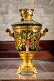 Beautiful vintage samovar with traditional pattern khokhloma Royalty Free Stock Image