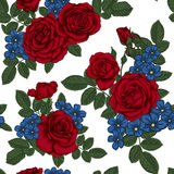 Beautiful vintage seamless pattern with bouquets of red roses and leaves. Stock Images
