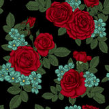 Beautiful vintage seamless pattern with bouquets of red roses and leaves. Royalty Free Stock Photo