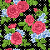 Beautiful vintage seamless pattern with bouquets of roses and leaves. Royalty Free Stock Photos