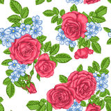 Beautiful vintage seamless pattern with bouquets of roses and leaves. Royalty Free Stock Photography