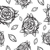 Beautiful vintage seamless pattern with gothic roses in linear style. Black and white retro illustration. Bohemian, tattoo art. vector illustration