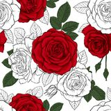 Beautiful vintage seamless pattern with red, black and white roses. design greeting card and invitation of the wedding, birthday,. Valentine s Day, mother s day Royalty Free Stock Photography