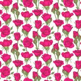 Beautiful vintage seamless pattern with roses, rosebuds, leaves and stems. design greeting card and invitation of the stock illustration