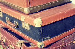 Beautiful vintage shabby Ancient old suitcases valise retro style design. Concept Travel. Toned photo. Stock Photo