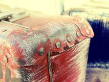 Beautiful vintage shabby Ancient old suitcases valise retro style design. Concept Travel. Toned photo. Stock Images