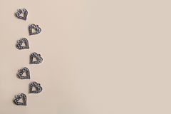 Beautiful vintage silver metal love hearts for Weddings or valentines Stock Photo