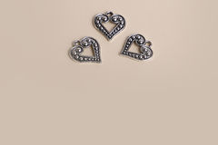 Beautiful vintage silver metal love hearts for Weddings or valentines Stock Images
