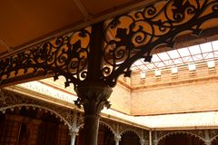 The beautiful vintage steel fabrications in the palace of bangalore. Bangalore Palace, a palace located in Bangalore, Karnataka, India. Construction of a Royalty Free Stock Image