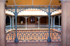 The beautiful vintage steel fabrications in the palace of bangalore. Bangalore Palace, a palace located in Bangalore, Karnataka, India. Construction of a Royalty Free Stock Photos