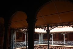 The beautiful vintage steel fabrications in the palace of bangalore. Bangalore Palace, a palace located in Bangalore, Karnataka, India. Construction of a Stock Photos