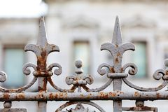 Beautiful vintage street fence decoration element. Soft focus photography Royalty Free Stock Images
