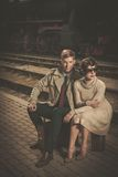 Beautiful vintage style couple Royalty Free Stock Images