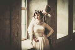 Beautiful vintage style couple Stock Images