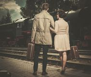 Beautiful vintage style couple Stock Photos
