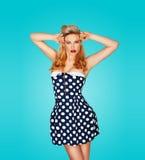 Beautiful vintage style fashion model Stock Images