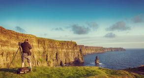 Beautiful vintage style scenic irish countryside landscape from the cliffs of moher in ireland. Beautiful vintage style scenic irish countryside landscape from Royalty Free Stock Photo