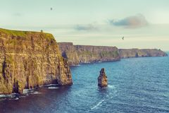Beautiful vintage style scenic irish countryside landscape from the cliffs of moher in ireland. Beautiful vintage style scenic irish countryside landscape from Royalty Free Stock Image