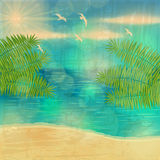 Beautiful vintage summer seaside illustration Royalty Free Stock Photography