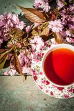 Beautiful, vintage teacup with Japanese cherry tree blossoms,. Shot from above Royalty Free Stock Image