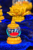 Beautiful vintage Thai golden glass casket use for religious cer Royalty Free Stock Photography