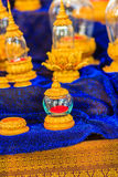 Beautiful vintage Thai golden glass casket use for religious cer Royalty Free Stock Image