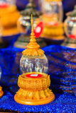 Beautiful vintage Thai golden glass casket use for religious cer Royalty Free Stock Photo