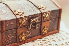 Beautiful vintage treasure of mystery chest. Close up Stock Image