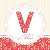 Beautiful vintage Valentines Day card in shabby chic style with patch applique of letter V stock photography