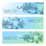 Beautiful vintage vector banner with tea Stock Photo
