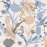 Beautiful  vintage Vector botanic silhouette floral seamless pattern on modern zigzag stripe Fill-in, delicate  wallpaper, wild vector illustration